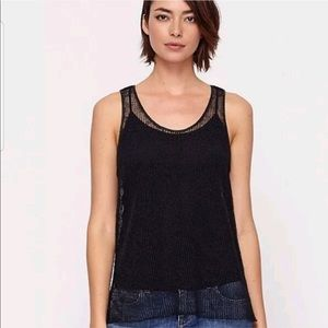 Eileen Fisher Small Mesh Black Top Blouse Tank